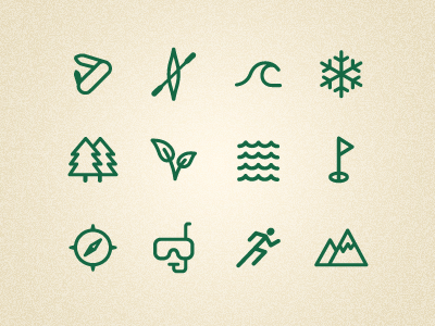 Outdoor icons set by Patrick Enstrom