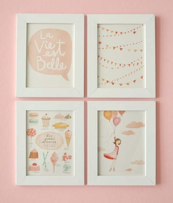 La Vie est Belle FOR FRAMING Set of 4 prints and 1 by evajuliet