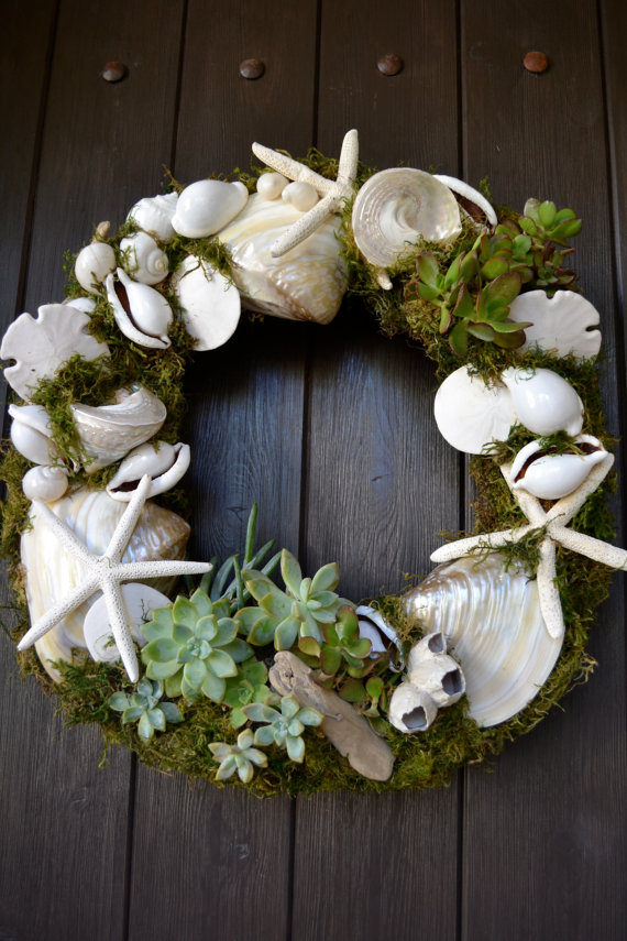 San Clemente Shell & Succulent Wreath by GreenThumbGarage on Etsy