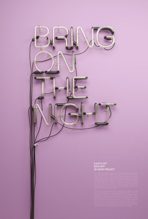 3D Neon Headline Visuals for an Eristoff Vodka Campaign
