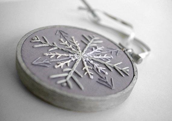 Snowflake Embroidery Hoop Christmas Ornament by sometimesiswirl