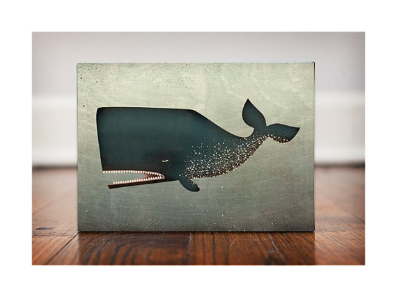 The Barnacle Whale GRAPHIC ART illustration on by nativevermont