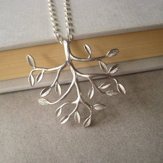 Silver Tree Necklace SilverPlated Brass Tree by juliegarland