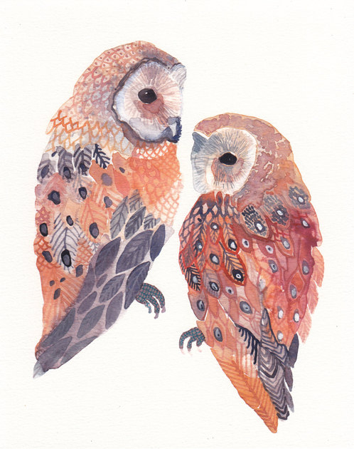 Two Barn Owls No2 Archival Print by unitedthread on Etsy