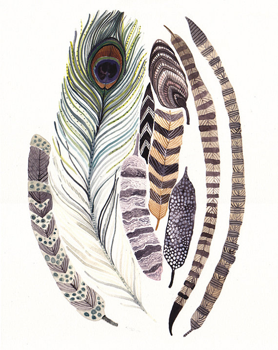 Feathers Large Archival Print by unitedthread on Etsy