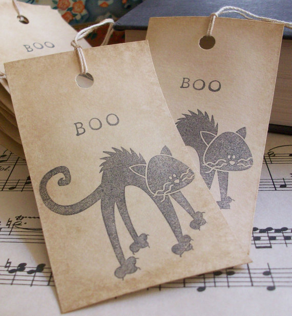 SALE halloween coffee stained gift tags / favor by SeptemberFaire
