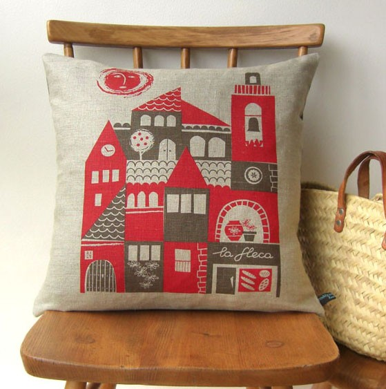 Siesta linen cushion in red and tan by roddyandginger on Etsy