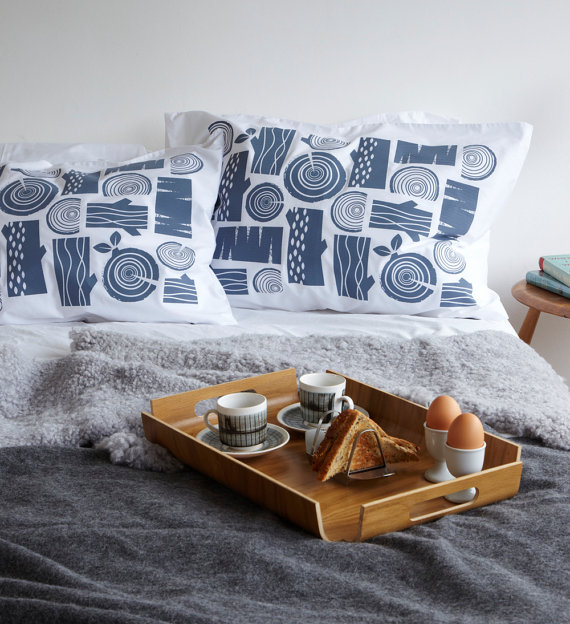Log pile handprinted cotton pillow cases by roddyandginger on Etsy