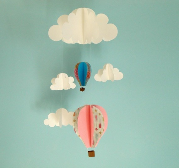 Hot Air Balloons and Clouds Hanging Baby Mobile/3D by goshandgolly