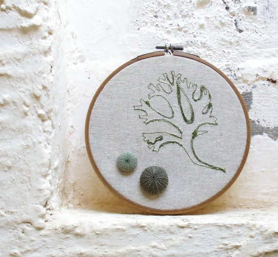 Sea Urchins and Seaweed Tango Embroidered Hoop by GiftsandStars