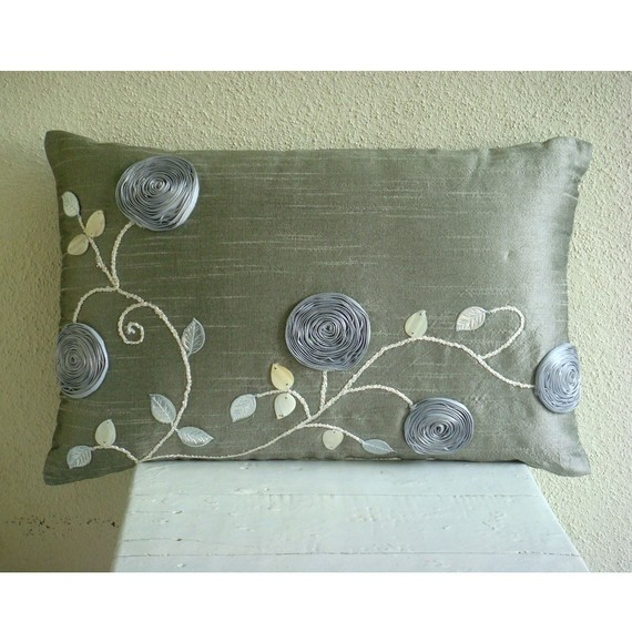 Silver Rose Garden Oblong / Lumbar Throw by TheHomeCentric