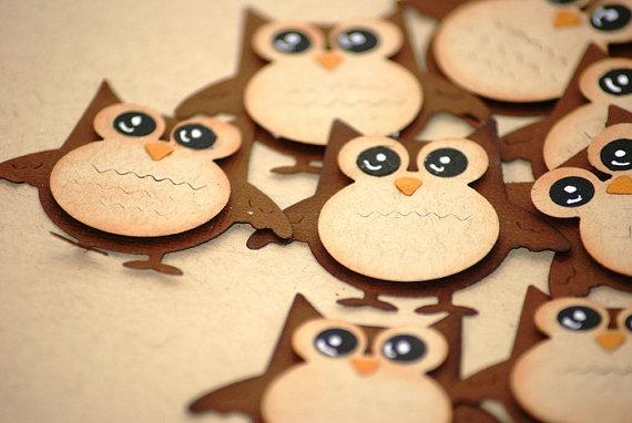 5 x Cute Owl Die Cut by denimdays on Etsy