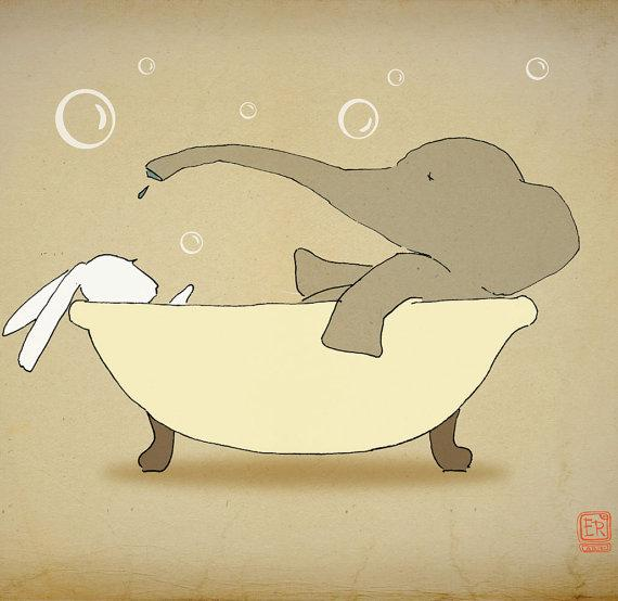 Elephant bunny Archival Art Print 12x16 nursery by LeniSomnia