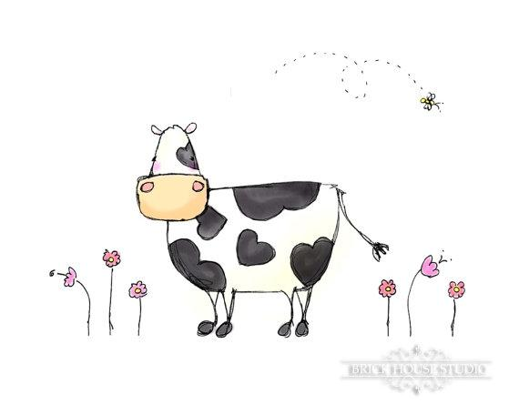 Country Art Cow 5x7 Illustation Print by BrickHouseStudio on Etsy
