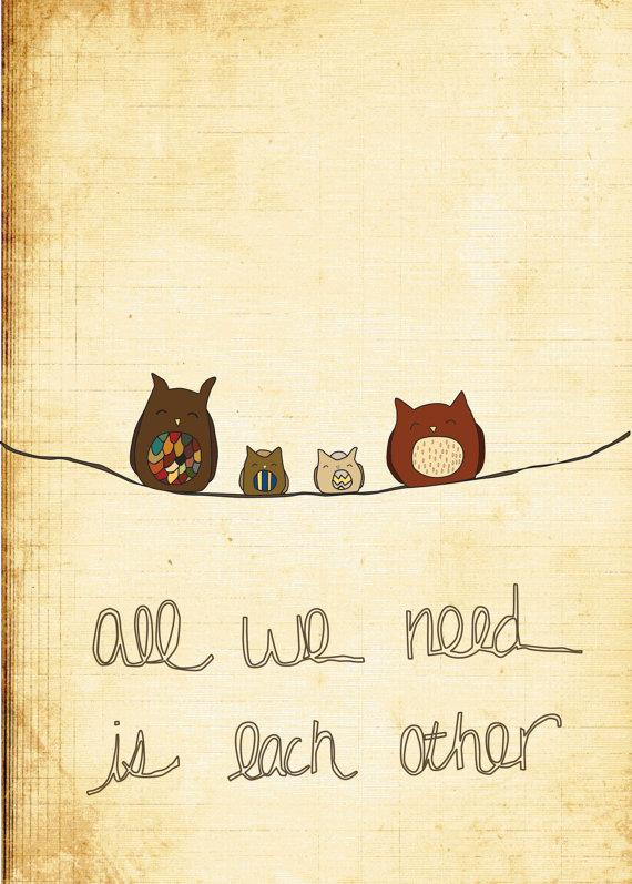 Wall Art All We Need 5x7 Illustration by thelittleillustrator