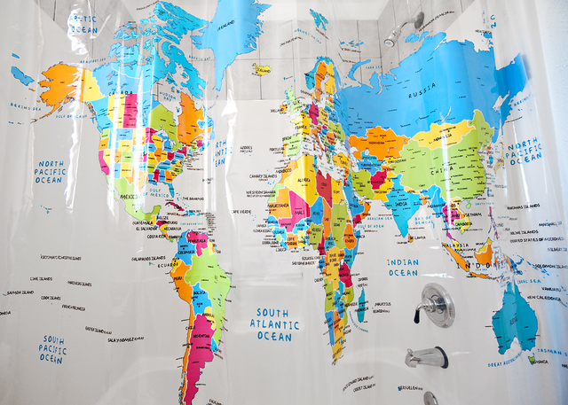 World Map Shower Curtain | Fancy Crave
