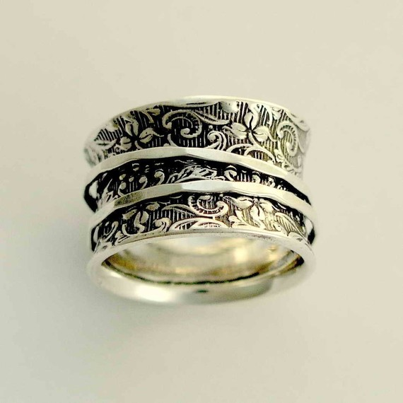 meditation ring Sterling silver spinners on a by artisanlook