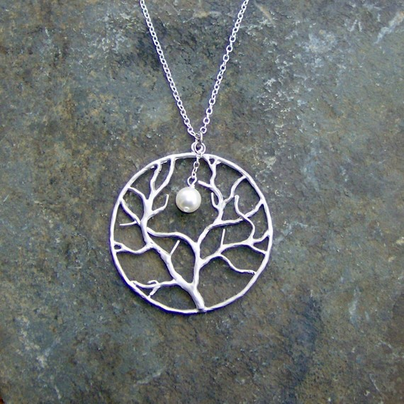 Silver Circular Tree with Pearl Moon Necklace by BojanglesJewelry