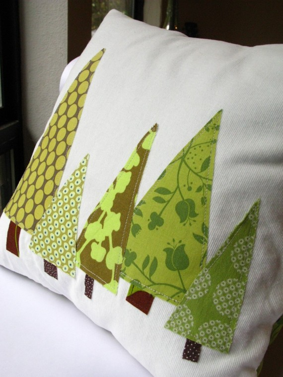 Pillow Woodland Forest in Moss Green and Olive by allisajacobs