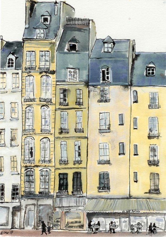 A Bit of Paris 6 x 8 print by artquirk on Etsy