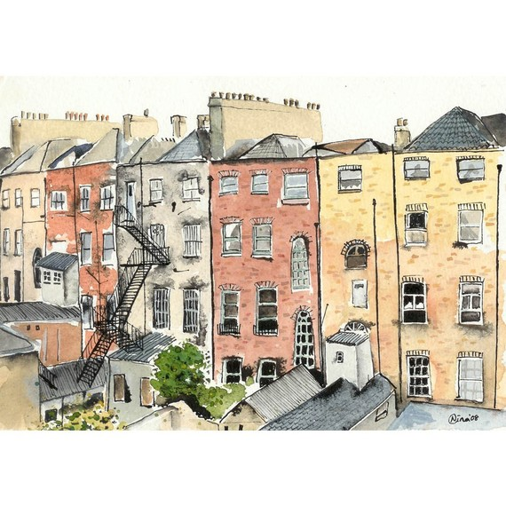Chimneys in Dublin 8 x 10 by artquirk on Etsy