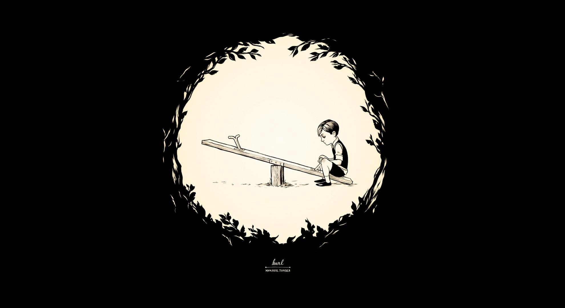 minimalistic kids alone playground black background - Wallpaper (#2117118) / Wallbase.cc