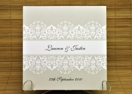 New Dawn Square Vertical Invitation in Taupe - Wedding Invitations