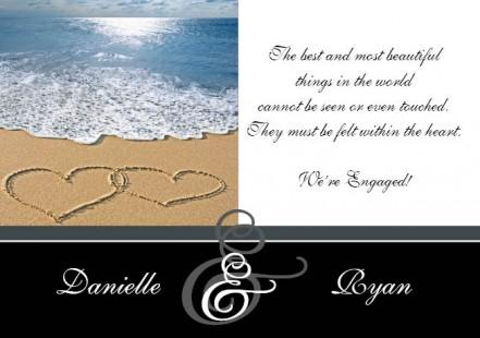 Beach Hearts Engagement Invitation Card in Black - Wedding Invitations