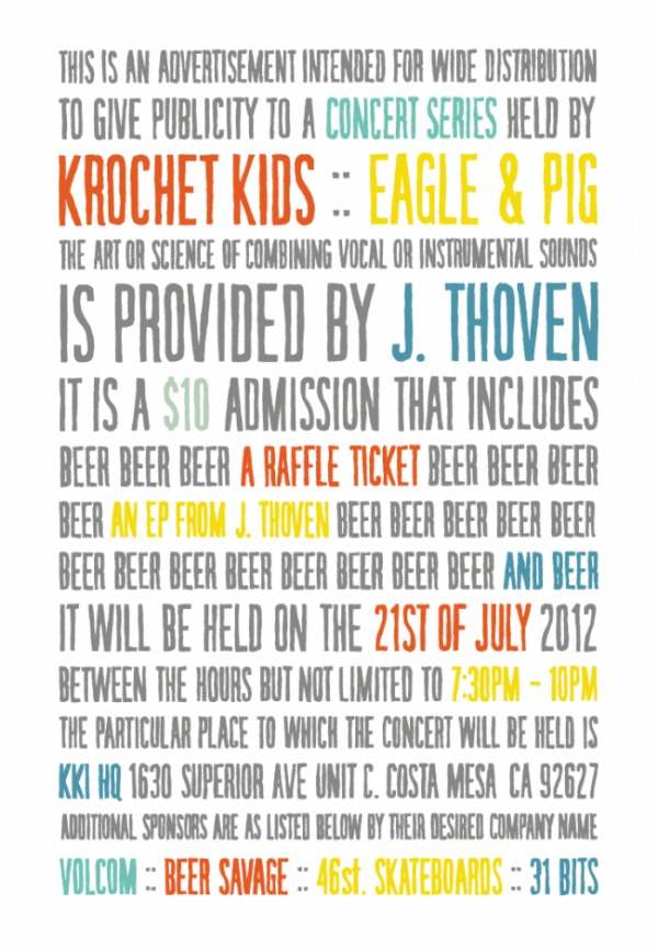KKi Concert Series: Eagle & Pig presents J. Thoven - Krochet Kids international — Designspiration