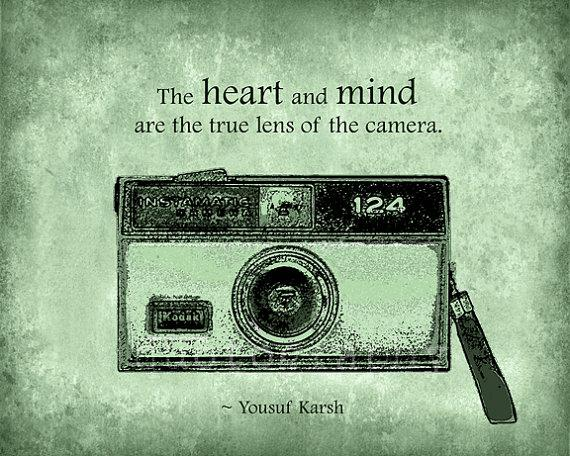 The heart and mind are the true lens of the camera. Yousuf Karsh.