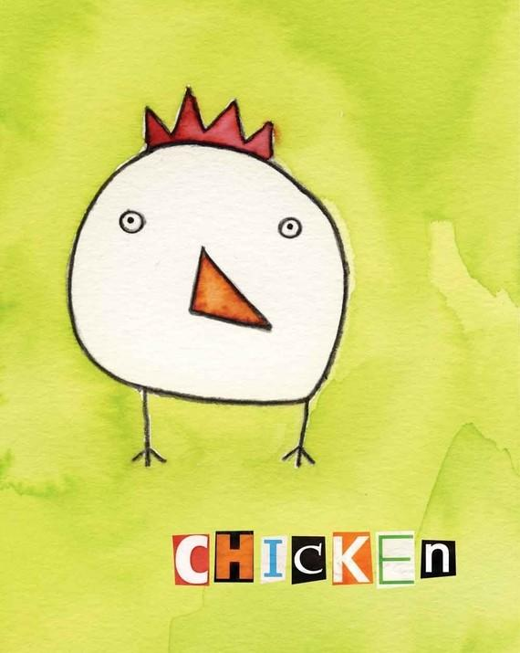 Chicken watercolor print by SusieLubell on Etsy