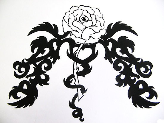 flower tattoos collections: Tribal Hearts And Roses