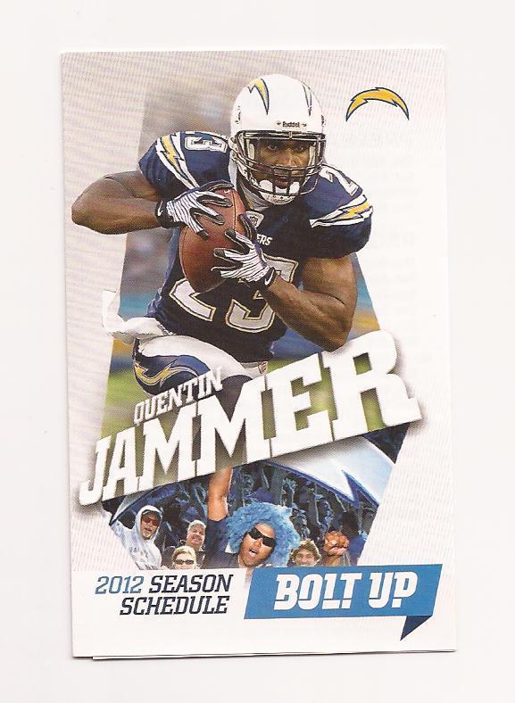 2012 NFL San Diego Chargers Pocket Season Schedule (QUENTIN JAMMER) | eBay
