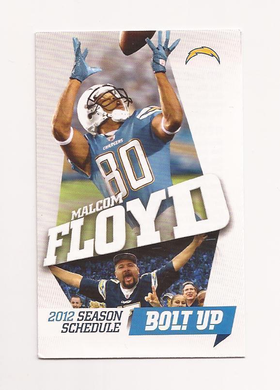 2012 NFL San Diego Chargers Pocket Season Schedule (MALCOLM FLOYD) | eBay