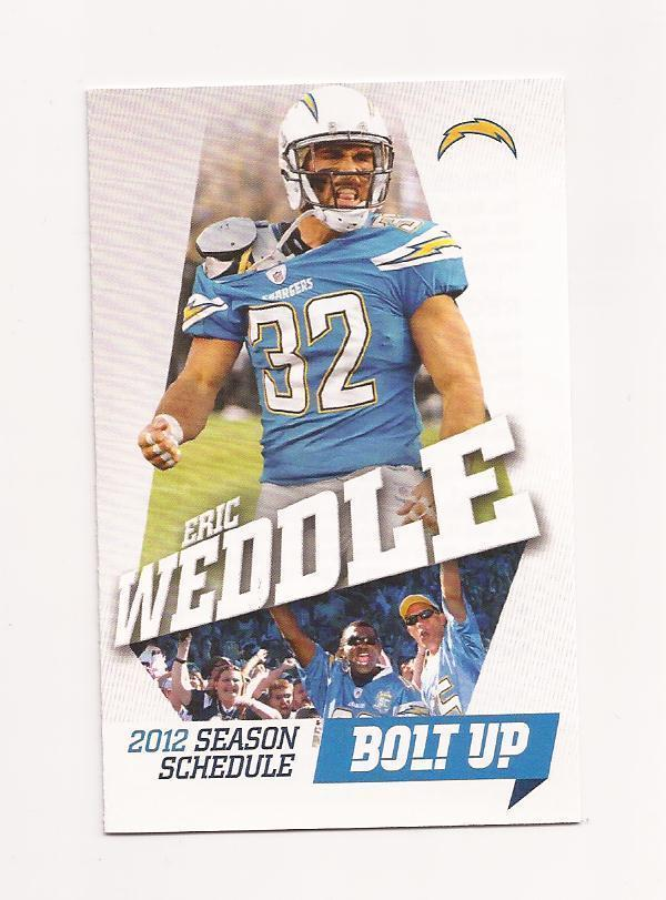 2012 NFL San Diego Chargers Pocket Season Schedule (ERIC WEDDLE) | eBay