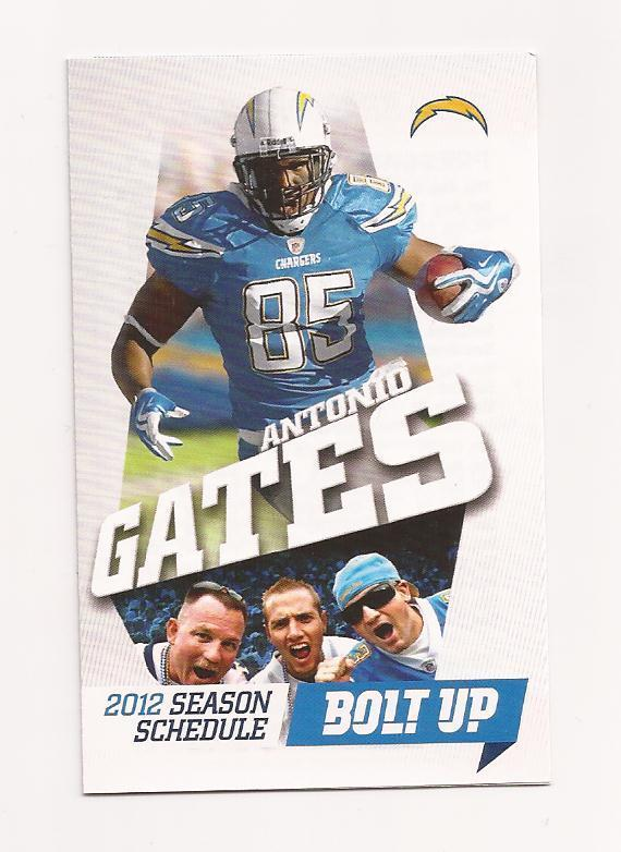 2012 NFL San Diego Chargers Pocket Season Schedule (ANTONIO GATES) | eBay