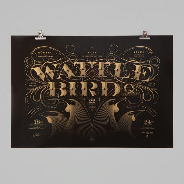 Wattle Bird Quartet, Limited Edition Print by Walter Hansen NZ Art Prints, Design Prints, Posters & NZ Design Gifts | endemicworld