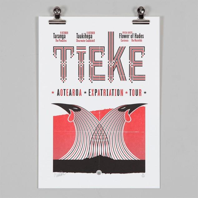 Tieke Tour Letterpress Print NZ Art Prints, Design Prints, Posters & NZ Design Gifts | endemicworld