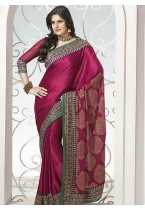 Passionate Fuschia Embroidered Saree
