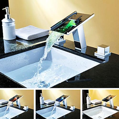 LED Color Changing Contemporary Single Handle Waterfall Chrome Bathroom Sink Faucet – FaucetSuperDeal.com