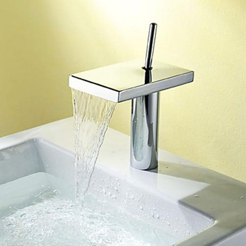 Contemporary Waterfall Single Handle Chrome Bathroom Sink Faucet – FaucetSuperDeal.com