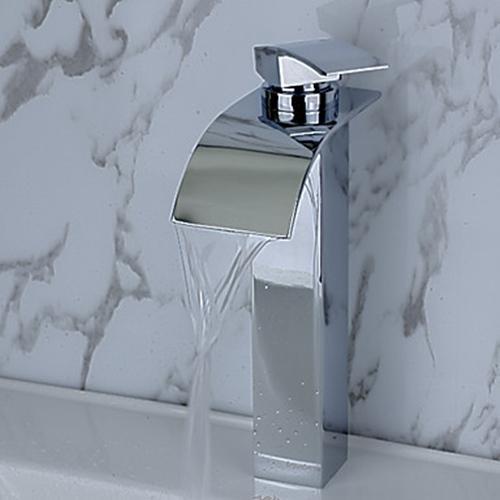 Contemporary Brass Waterfall Bathroom Sink Faucet– FaucetSuperDeal.com