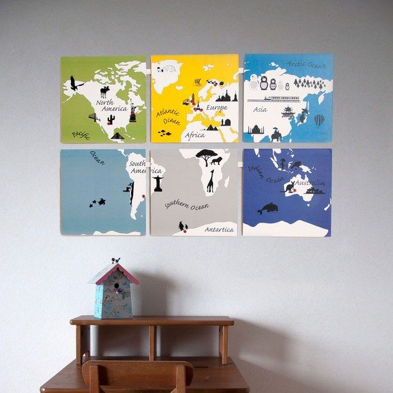Kids World Map Printable Wall Art by fleetingthing on Etsy