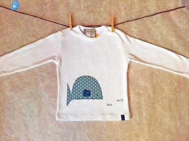 Kinder Langarmshirt Gr. 104 weiß appliziert Fisch - gagileins Kinderwelt von gagilein - Langarmshirts - Kinderkleidung - DaWanda