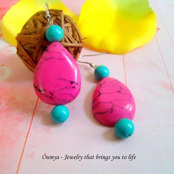 Pink drop earrings - Craftsia - Indian Handmade Products & Gifts