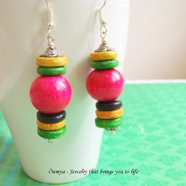 Wooden bead earrings - Pink - Craftsia - Indian Handmade Products & Gifts