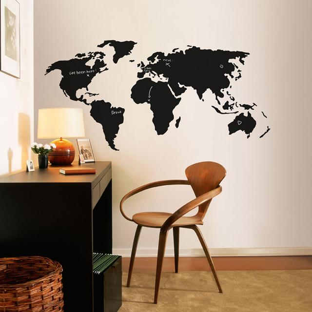 Chalkboard World Map Decal | Fancy Crave