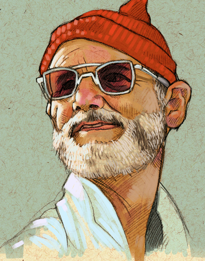 Illustration of Steve Zissou from The Life Aquatic (2004) | Signature Illustration Blog