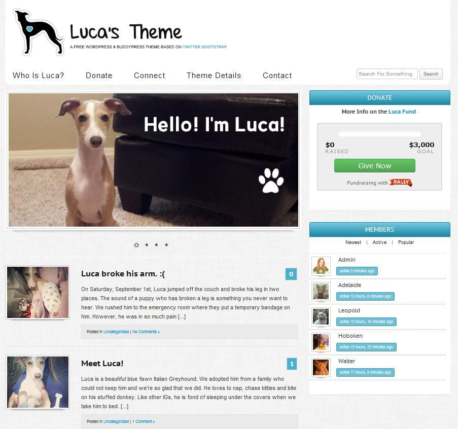 Luca's Theme: A Free WordPress and BuddyPress Theme Based on Twitter Bootstrap - WPMU.org