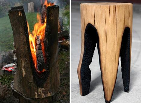 Hot Seats! Stools Set on Fire to Create Charred Log Chairs | Designs & Ideas on Dornob